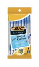 BIC RND STIC GRIP MED BLUE 8