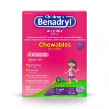 BENADRYL CHLD CHEW GRAPE 20S