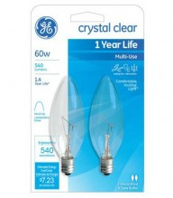 GE BULB 60WT CRYS CLR BLNT SML