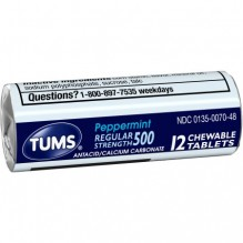 TUMS SINGLE ROLL PEPPERMINT 12S