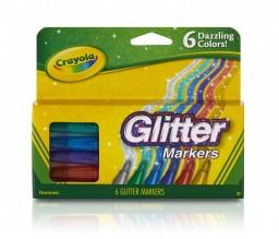 CRAYOLA GLITTER MARKER 6CT N/TX