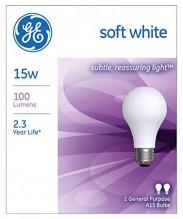 GE BULB WHITE 15W S/WHT 2-PK